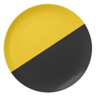 Negro de Anarcho y amarillo capitalistas Plato De Comida