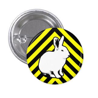 Negro de BunnyLuv, amarillo y botón del conejito Pin Redondo De 1 Pulgada