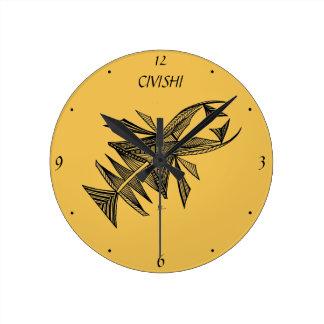 Negro de Civishi #218, criatura abstracta del mar Reloj Redondo Mediano