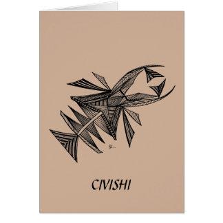 Negro de Civishi #218, criatura abstracta del mar Tarjeta Pequeña