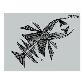 Negro de Civishi #218, criatura abstracta del mar Tarjeta Postal