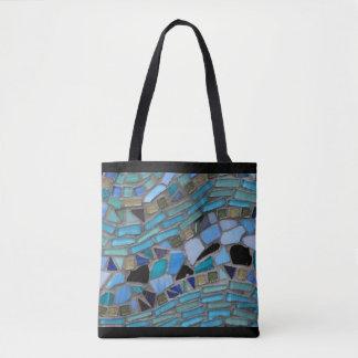 Negro de cristal del mosaico del mar azul bolsa de tela