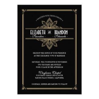 Negro de Deco del vintage y invitación del boda de