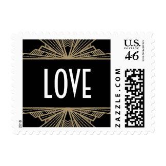 Negro de Deco del vintage y sello del amor del oro