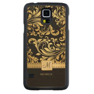 Negro de Eleagant y modelo del damasco del oro con Funda De Galaxy S5 Slim Arce
