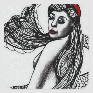 Negro de Elise de la sirena y arte y diseño de W Pegatina Cuadrada