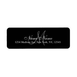 Negro de encargo elegante de la etiqueta del remit etiqueta de remite