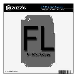 Negro de FL la Florida iPhone 3G Calcomanías