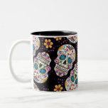 Negro de Halloween del cráneo del azúcar Taza De Café De Dos Colores