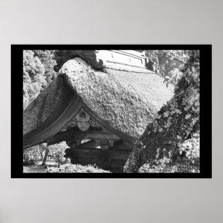 Negro de Japón del tejado cubierto con paja Póster