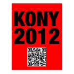 Negro de Kony 2012 en rojo Tarjeta Postal
