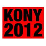 Negro de Kony 2012 en rojo Tarjetas Postales