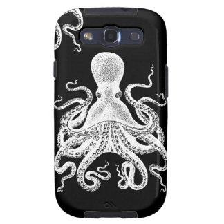 Negro de Kraken del pulpo de Steampunk del caso de Galaxy S3 Fundas
