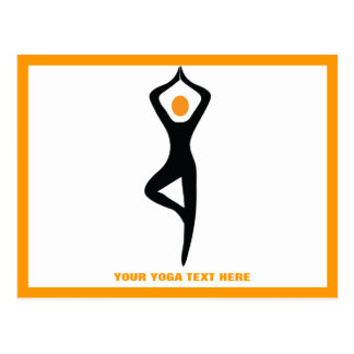 Negro de la actitud del árbol de la yoga, tarjetas postales