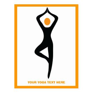 Negro de la actitud del árbol de la yoga, postales
