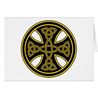 Negro de la armadura del doble de la cruz céltica tarjeta de felicitación