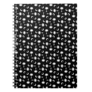 Negro de la bandera de la luna del Palmetto de Car Libro De Apuntes