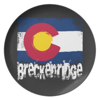 Negro de la bandera del Grunge de Breckenridge Platos De Comidas