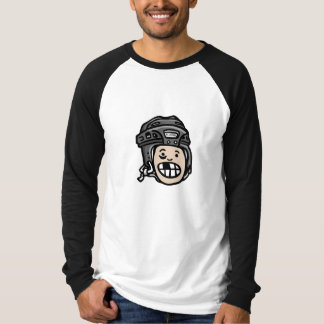 Negro de la cabeza del casco del hockey playera