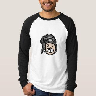 Negro de la cabeza del casco del hockey playeras