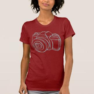 negro de la cámara del bosquejo camiseta