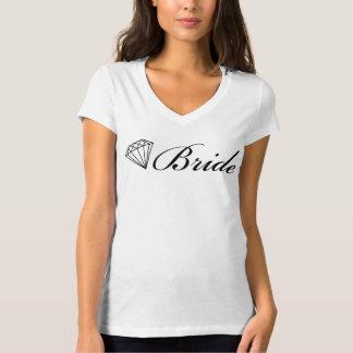 Negro de la camiseta de la novia del diamante