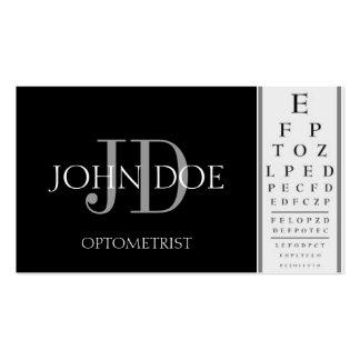 Negro de la carta del optometrista tarjetas de visita