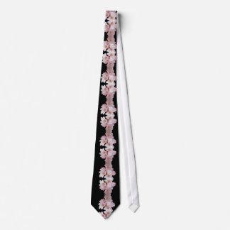 Negro de la cascada de la flor de cerezo corbatas