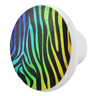 Negro de la cebra e impresión del arco iris pomo de cerámica