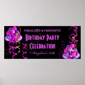 Negro de la celebración de la fiesta de cumpleaños póster