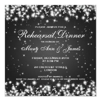 Negro de la chispa del invierno de la cena del invitación 13,3 cm x 13,3cm