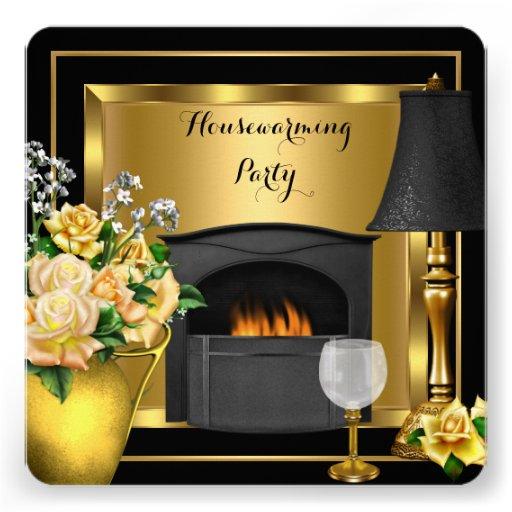 Negro de la copa de vino de la decoración de los r invitaciones personalizada