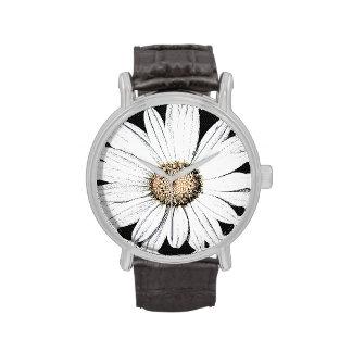 Negro de la correa de cuero del vintage de Mae de Relojes
