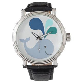 Negro de la correa de cuero del vintage del reloj