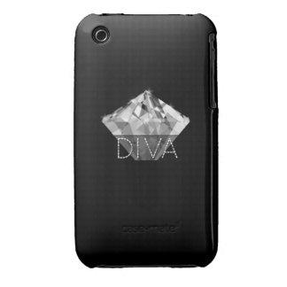 Negro de la diva del diamante iPhone 3 carcasa