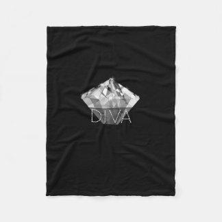 Negro de la diva del diamante manta de forro polar