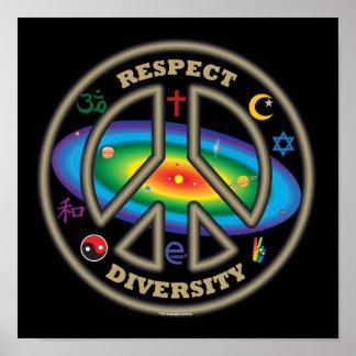 negro de la diversidad del respecto poster
