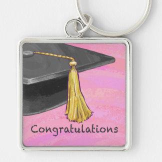 Negro de la enhorabuena y rosado graduados llavero cuadrado plateado