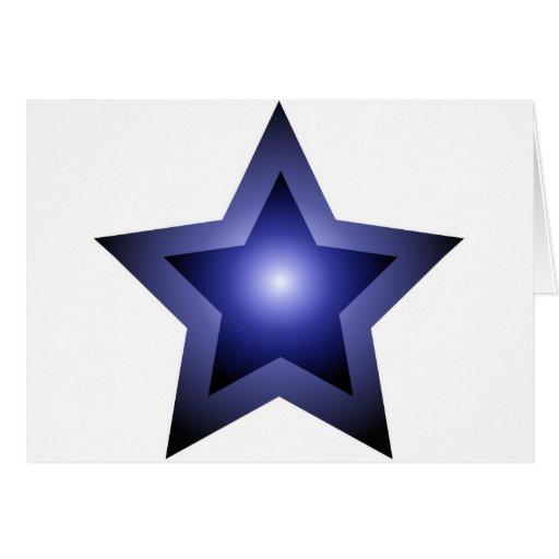 Negro de la estrella azul tarjeta de felicitación