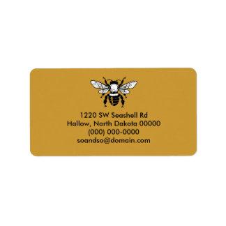 Negro de la etiqueta de dirección de la abeja de M