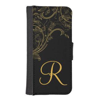 Negro de la fantasía e iPhone florales del monogra Fundas Tipo Cartera Para iPhone 5