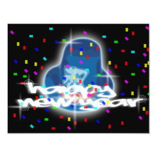 NEGRO DE LA FELIZ AÑO NUEVO INVITACIÓN 10,8 X 13,9 CM