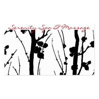 negro de la flor de cerezo tarjetas de visita