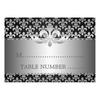 Negro de la flor de lis de Placecards del boda Tarjetas De Visita Grandes