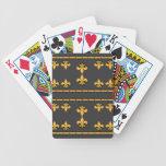 Negro de la flor de lis y naipes del oro barajas de cartas