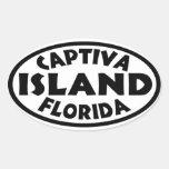 Negro de la Florida de la isla de Captiva Pegatina Ovalada