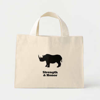 Negro de la fuerza y del honor del rinoceronte bolsas de mano