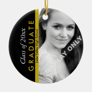 Negro de la graduación y foto del oro adorno navideño redondo de cerámica