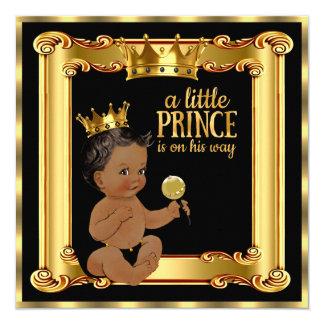 """Negro de la hoja del oro del príncipe fiesta de invitación 5.25"""" x 5.25"""""""