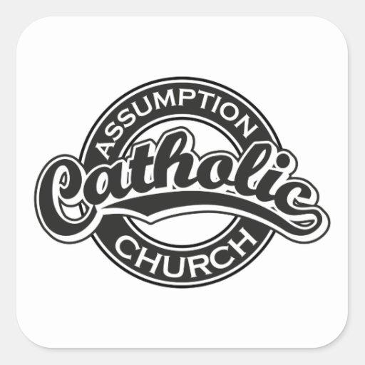 Negro de la iglesia católica de la suposición pegatina cuadrada